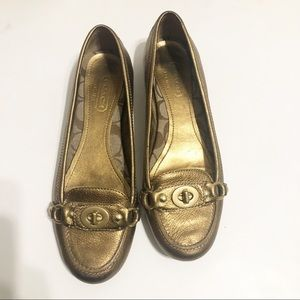 Coach Katrin Antique Gold Slip Loafers